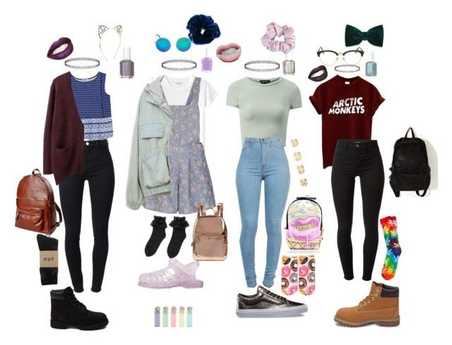 """Pastel/Grunge School outfits"" by stellaluna899 ❤ liked on Polyvore featuring Essie, Monki, Topshop, J Brand, Sunday Somewhere, American Apparel, Timberland, Vans, Accessorize and Maison Margiela"