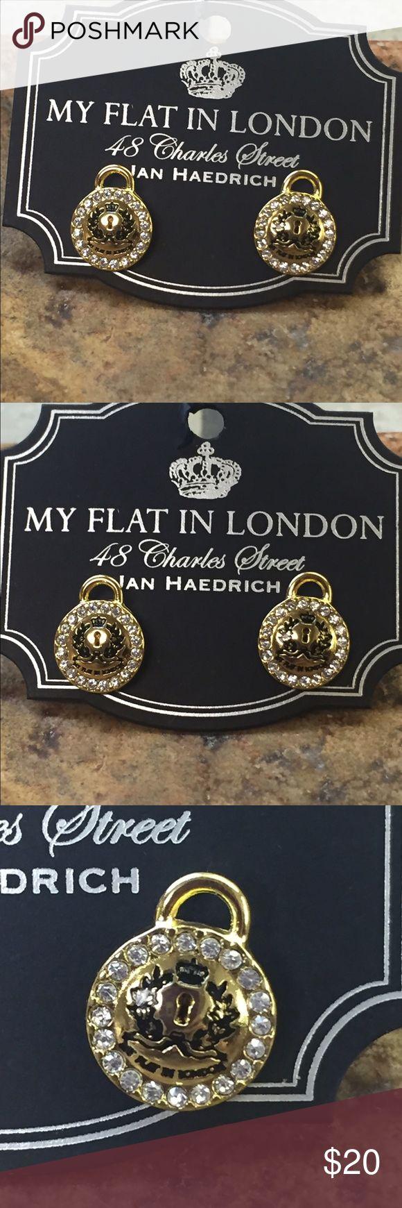 Brighton earrings MY FLAT IN LONDON PIERCED EARRINGS  LOVE LOCKS GOLD  NEW ON CARD  FROM SMOKE FREE HOME Brighton Jewelry Earrings