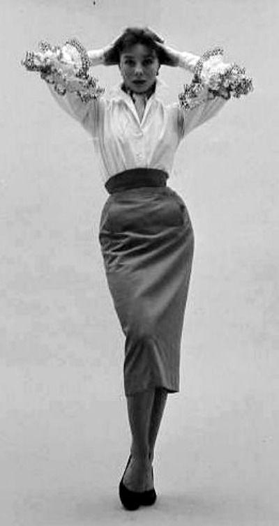 782c9b7f5f1e7 Bettina Graziani in Hubert de Givenchy Blouse and Gabardine Skirt February  2