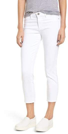 The Prima Crop Cigarette Jeans,  Ultrasoft stretch-sateen fabric makes up slim-fitting cigarette-leg jeans cut with cropped hems for a modern-chic look. #jeans #casual #croppedjeans #shoes #shirt #gray #whitrepants #summer #fashion #spring #capris #jeans #affiliate