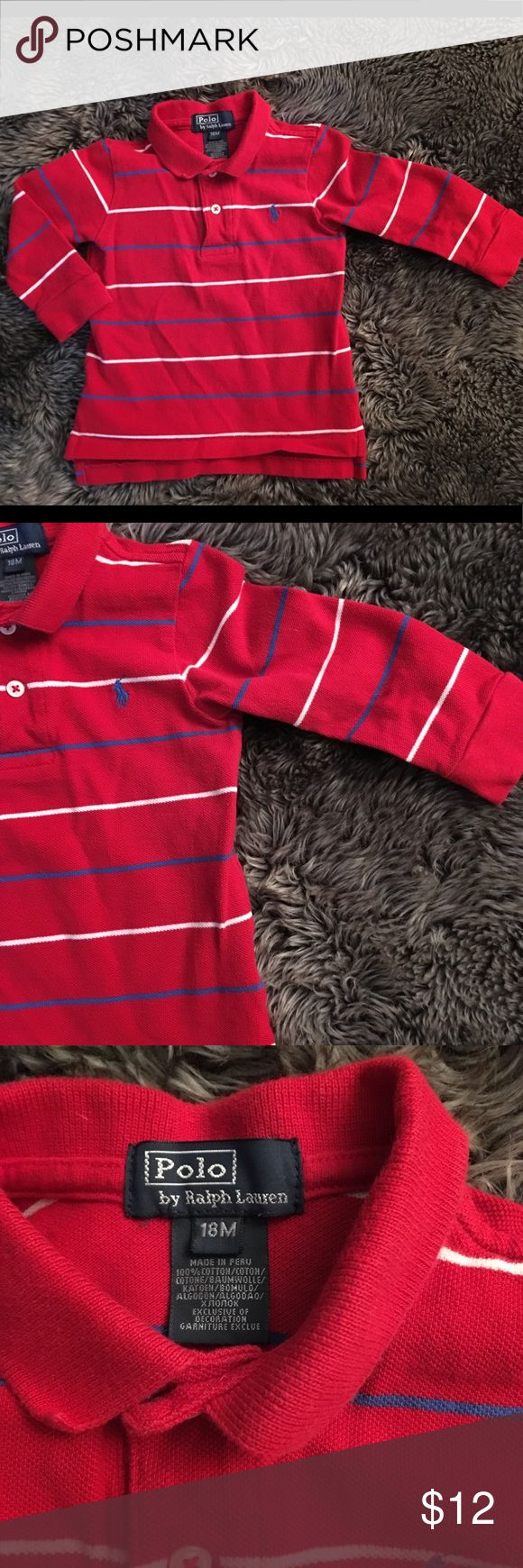 Polo Ralph Lauren boys long sleeve polo shirt 18mo Polo Ralph Lauren boys long sleeve polo shirt 18mo. Red in color with navy and white stripes. Polo by Ralph Lauren Shirts & Tops Polos