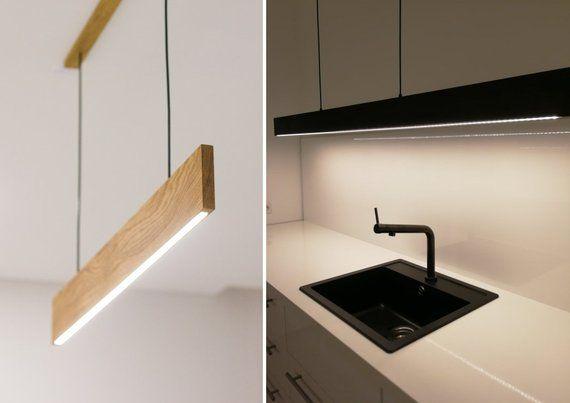 Lampadario moderno LED - lampada in legno   Lampade ...