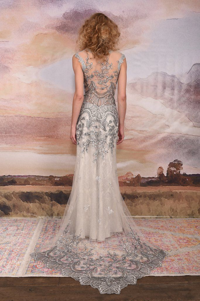 Horizon Gown Claire Pettibone Wedding Dress Embroidered Wedding Dress Silver Wedding Dress