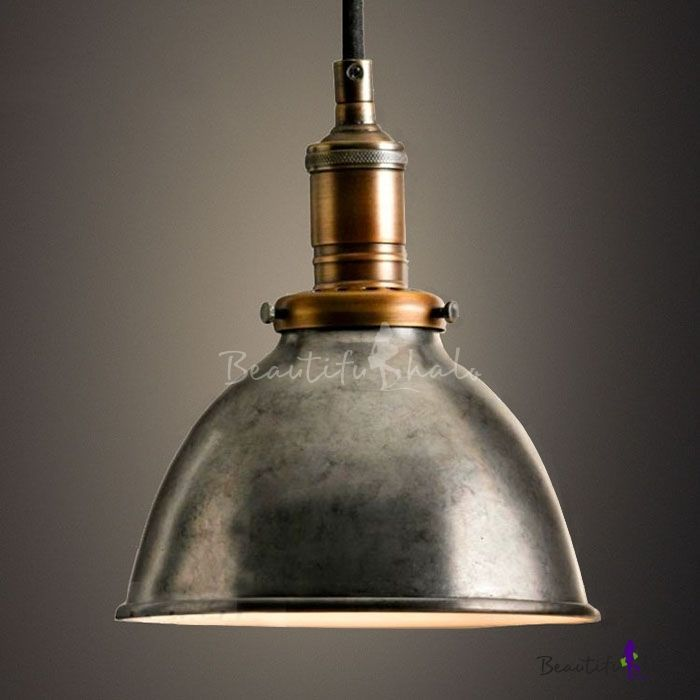 Industrial Dome Hanging Pendant Light In Old Silver For Kitchen