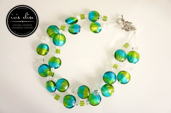 Chunky Turquoise & Lime Glass Double Strand Necklace #iriselise #etsy #jewelry #handmade