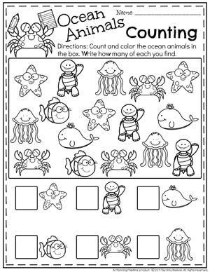 Summer Preschool Worksheets - Ocean Life Counting