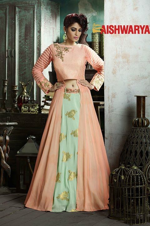 The perfect dress for those who love their traditional wear with a modern twist. Buy Lehenga Choli online - http://www.aishwaryadesignstudio.com/enchanting-peach-green-lehenga-choli
