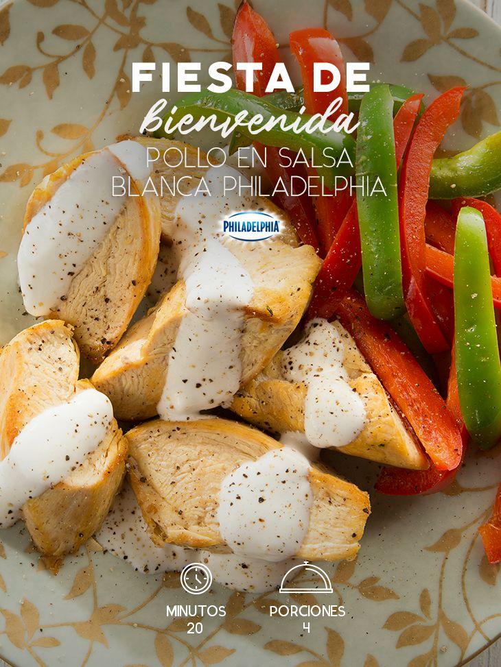 Este Pollo en salsa blanca será la mejor forma de dar la bienvenida a ese amigo tan especial.   #recetas #receta #quesophiladelphia #philadelphia #crema #quesocrema #queso #comida #cocinar #cocinamexicana #recetasfáciles #pollo #recetasconpollo #salsa #salsas #comida