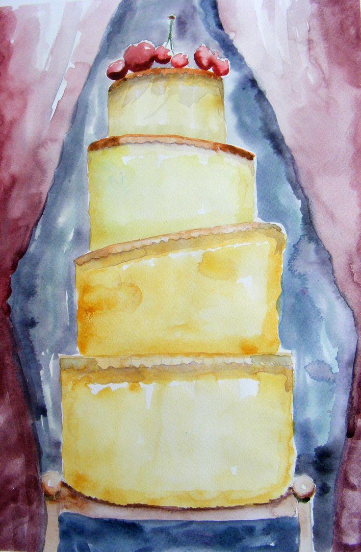 Watercolour festive, cherry and vanilla cake.