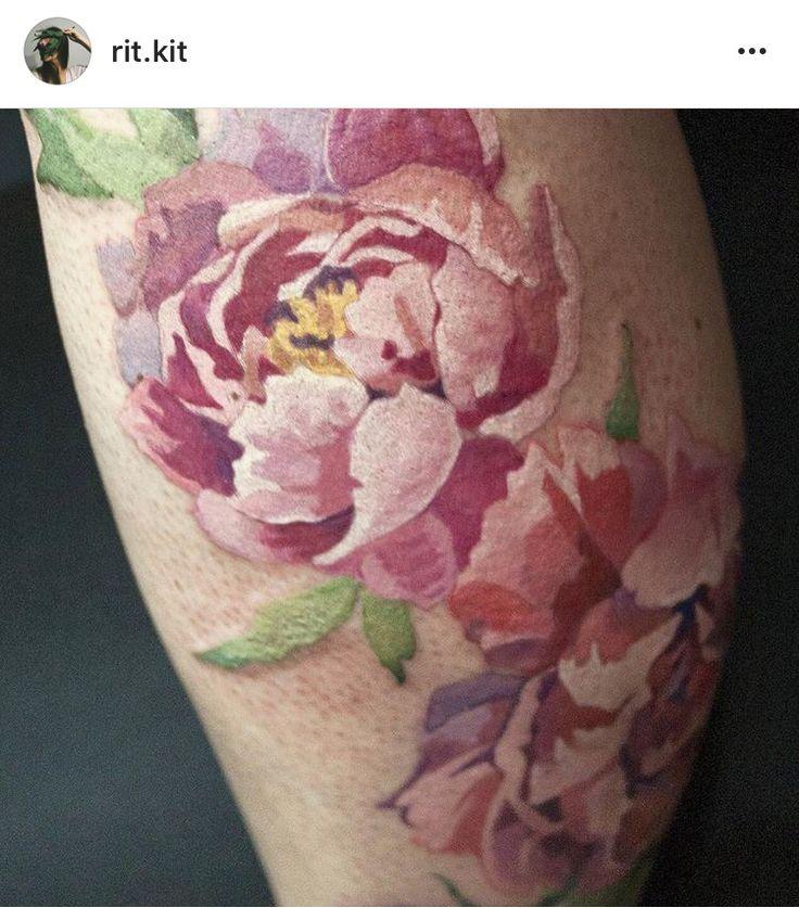 Lineless peony tattoo. Interesting idea for my peony tattoo.