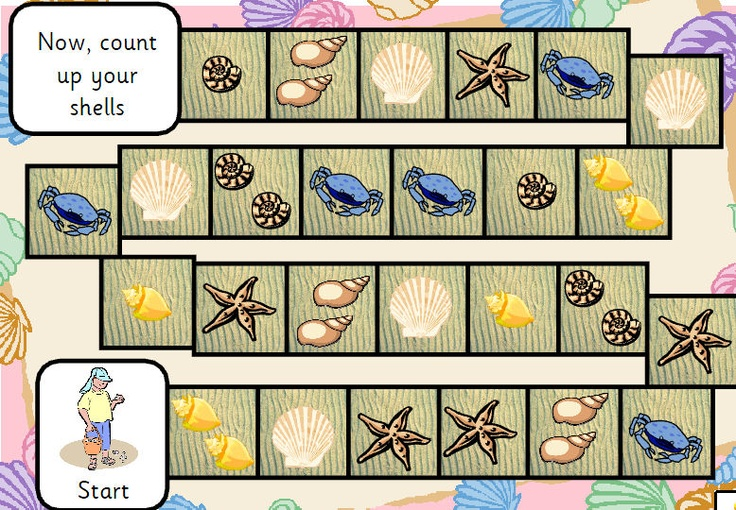 A simple game for young children or possibly those with SEN. Players move around the board collecting different tokens of things you might find on a beach. Winner is the player with most tokens in total when all have finished the game but this game could easily be extended to a data handling activity if desired.