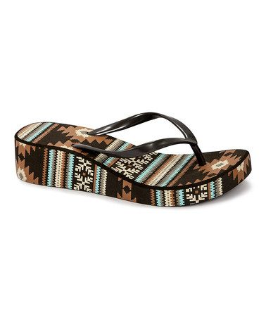 Brown Tribal Wedge Flip-Flop - Women #zulily #zulilyfinds