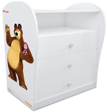 Комод «Маша и медведи» для мальчиков  — 16350р. ---------------- Комод для детской комнаты. Комплект прекрасно дополнят и другие предметы мебели для спальни из одноименной серии. Комод выполнен из ЛДСП, а его боковины украшены изображением Миши, героя популярного мультфильма. Специальная система направляющих с доводчиками предотвращает резкое шумное закрывание ящиков и делает использование мебели еще более комфортным.Реальный цвет может отличаться от представленного на сайте, ввиду различных…