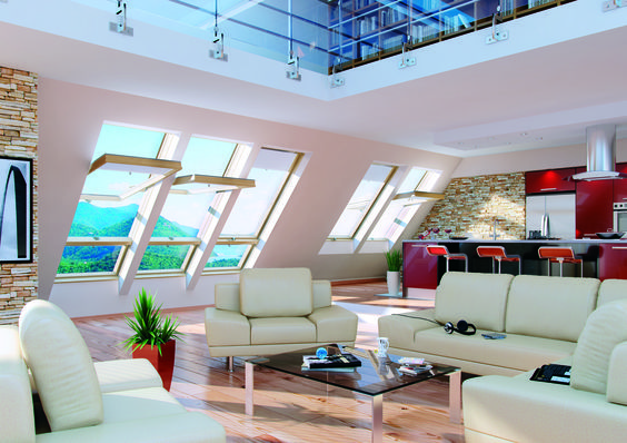 Relax in this stylish living room with fresh air blowing through. #roofwindows #livingroom #housedesigns #homedesigns #homerenovations #livingroomdesigns