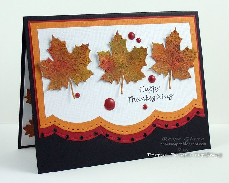 Card by Roxie Glaza (110415) [(dies) Impression Obsession Leaves; Spellbinders Borderabilities Scalloped Borders One; (stamps) Just for Fun Rubber Stamps Happy Thanksgiving]