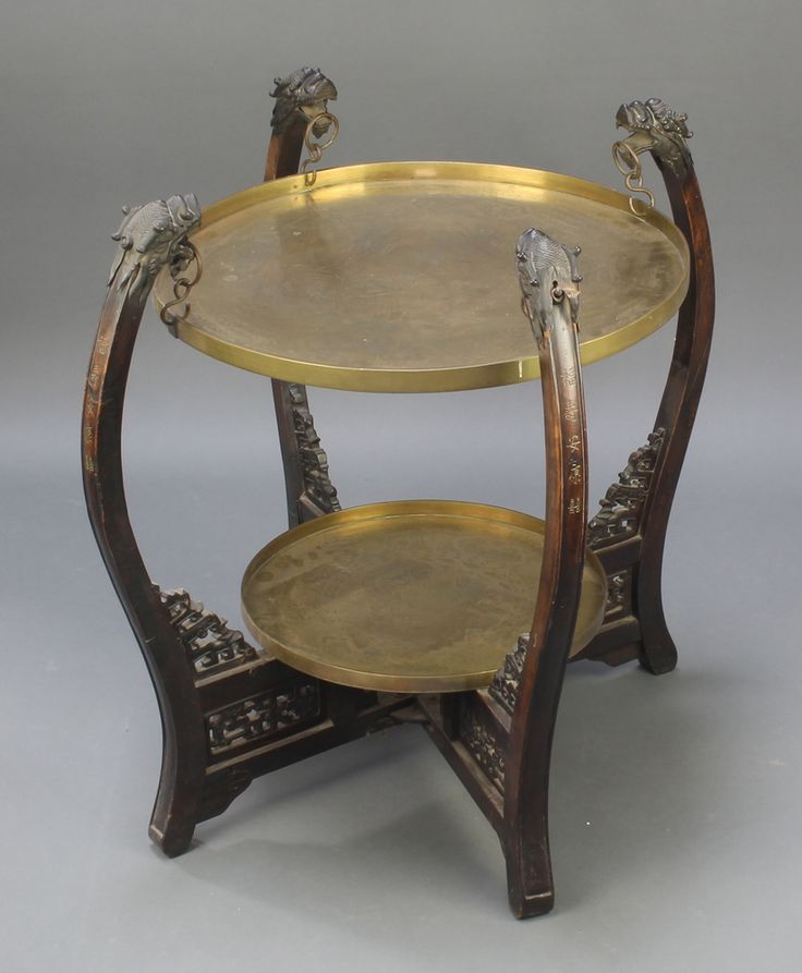 "Lot 1001, A Chinese wooden and brass circular 2 fold occasional table, the base signed and each leaf signed 23""h x 26"" diam. est £80-120"