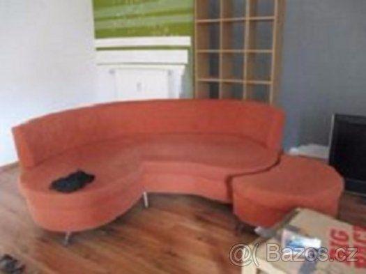 Moderní sedačka včetně taburetu v barvě terakota - Jablonec nad Nisou, prodám