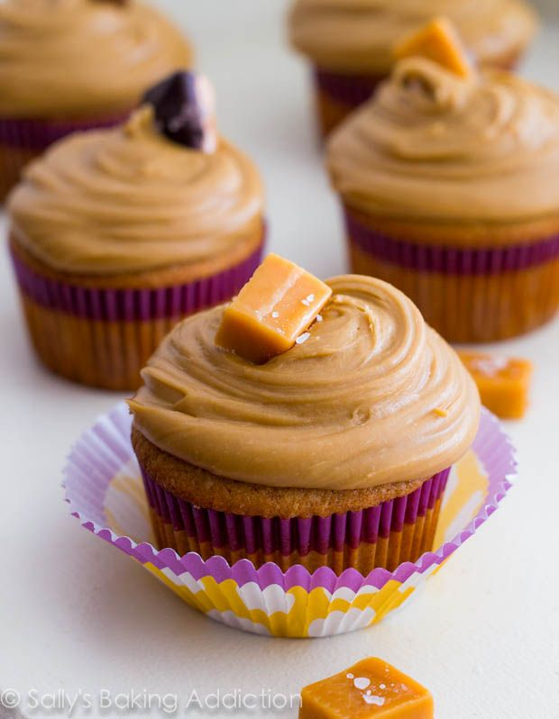 Caramel Cupcakes, topped with thick salted caramel frosting, and a salted caramel on top!  To-die for. Recipe @ sallysbakingaddiction.com