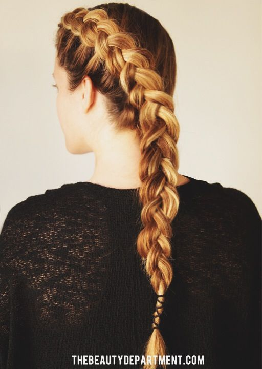 Wrap Braid: Dutch braid your hair, then use your elastic to create this wrap detailing at the end.