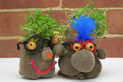 Cress head using old tights