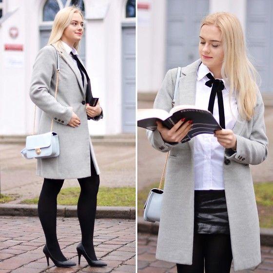 Get this look: http://lb.nu/look/8935014  More looks by Natalia Piatczyc: http://lb.nu/natalowka  Items in this look:  Primark Grey Coat, Bonprix Blue Tote Bag, Bonprix Black High Heels, Bonprix  White Shirt   #elegant #smart #romantic #casual #minimal #heels #black #grey #white