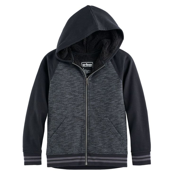 Boys 8-20 Urban Pipeline® Raglan Sherpa-Lined Fleece Hoodie, Size: Medium, Black