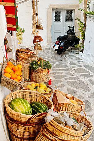 Groceries at street market, Cyclades Islands, Greece www.ploosdesign.com