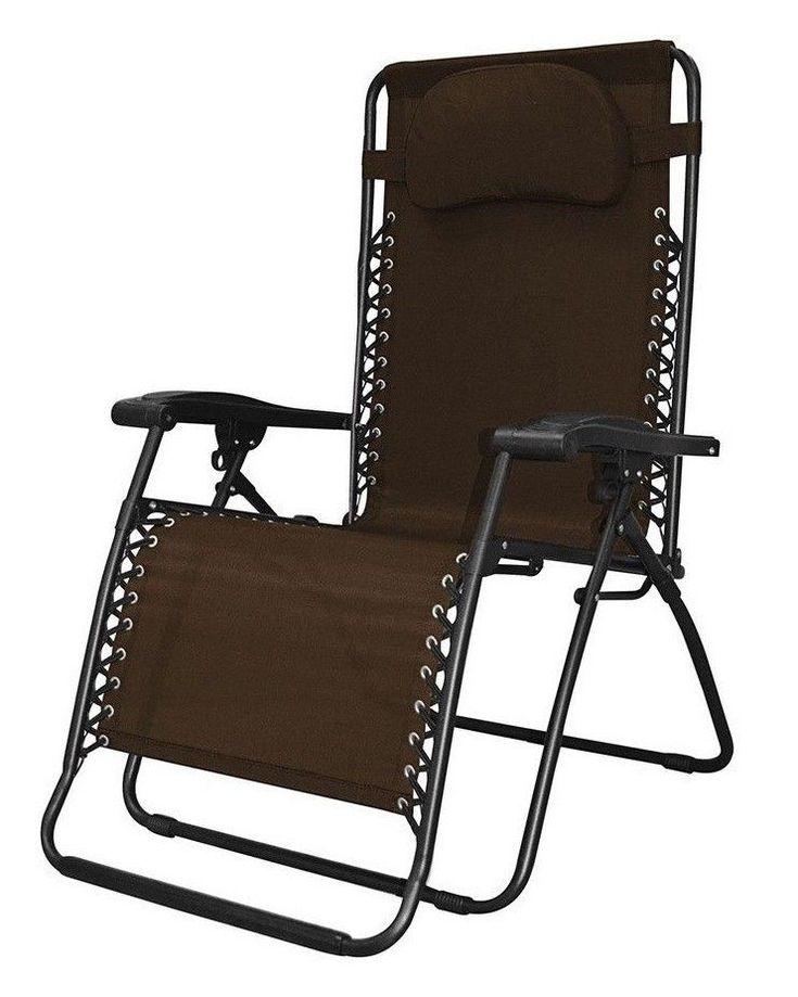 Outdoor Folding Chair Portable Lounge Oversized Zero Gravity Patio Seat Brown #CaravanCanopy