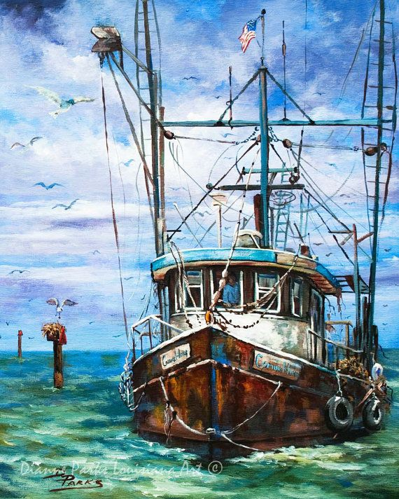 """Coming Home"" - Louisiana Shrimp Boat Art, Louisiana Shrimp Boat Painting, Louisiana Bayou Art, Fishing Painting, Louisiana Marine Art Gift FREE SHIPPING!"