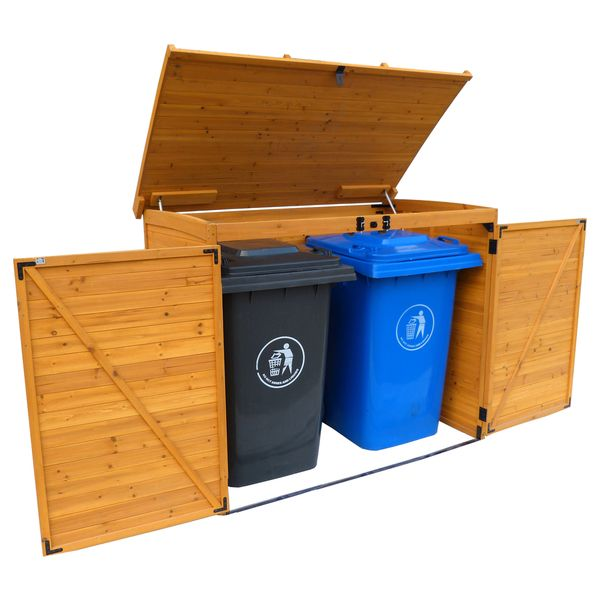 The large horizontal refuse outdoor storage shed is designed to house your trash, recycling, food and yard waste bins. This storage piece offers a triple-door design and a sturdy, solid wood construct