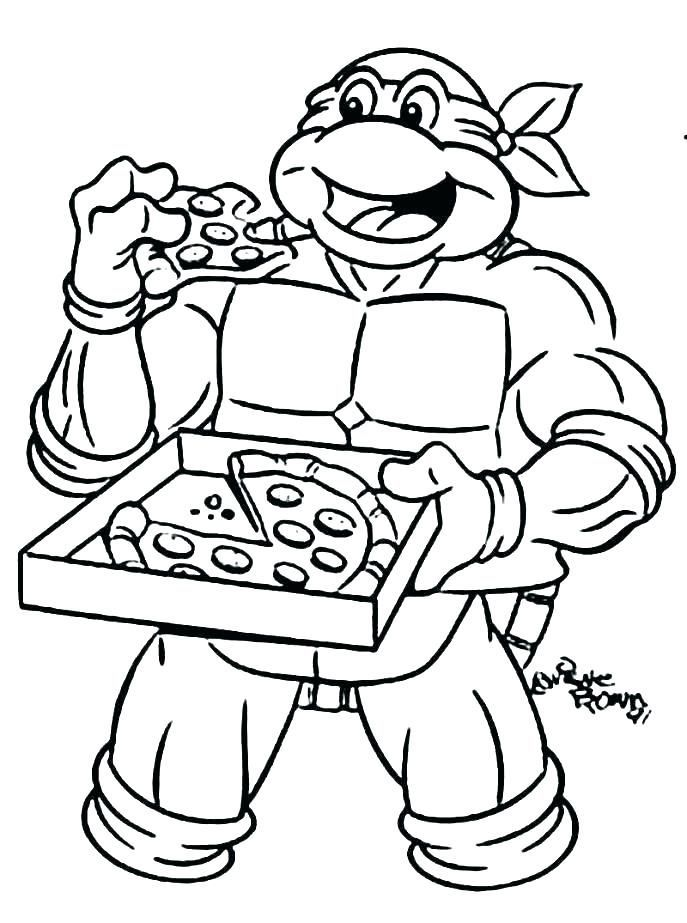 Pizza Teenage Mutant Ninja Turtles Coloring Pages Ninja Turtle Lembar Mewarnai Warna