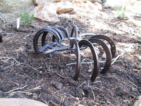 Horseshoe Art Spider Garden Decor Garden Art Garden Etsy