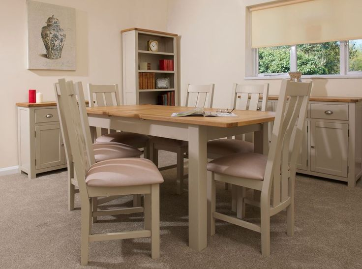 STONE COLOUR PAINTED OAK EXTENDING DINING TABLE WITH 6 CHAIRS. | eBay!