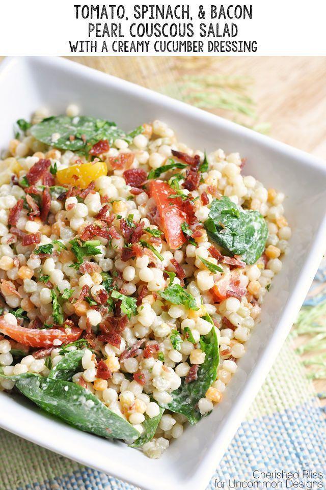 Tomaten Spinat Speck Perlen Couscous Salat Cucumberasian Cucumberavocado Cucumberbread Cucumbercockt Couscous Salad Couscous Recipes Pearl Couscous Salad