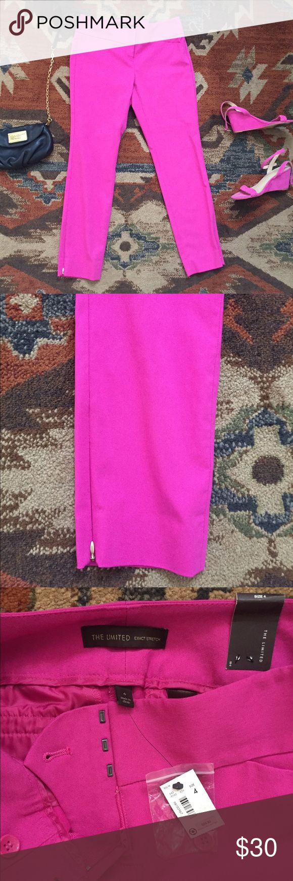 The Limited hot pink exact stretch pants Gorgeous hot pink pants by The limited.  Beautiful fit with just A LITTLE stretch to them. Gold zipper at the bottom hem. Viscose nylon and spandex blend never worn before! The Limited Pants