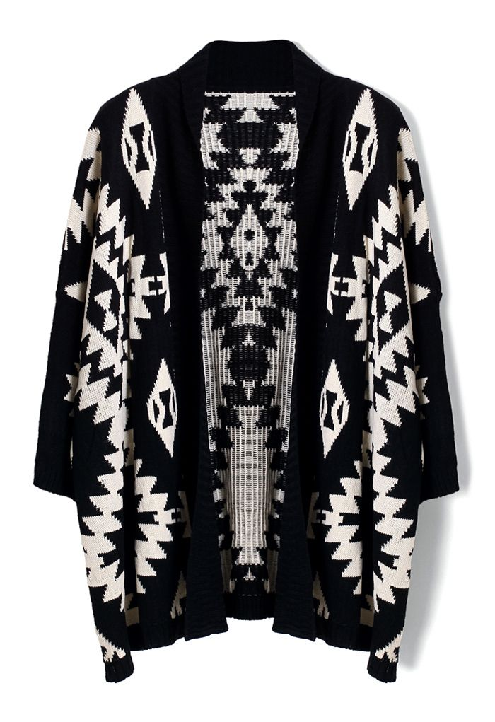 Aztec Open Knit Cardigan - Tops - Retro, Indie and Unique Fashion
