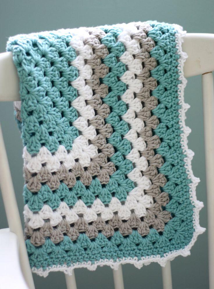 GORGEOUS COLOUR Modern Baby Blanket, Granny Square Baby Blanket, Teal and Gray Baby Blanket, Turquoise Baby Blanket.
