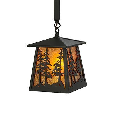 The Tall Pines Sunset Pendant Light Features A Silhouette Of Towering Pine Trees Beautifully Adorning Each