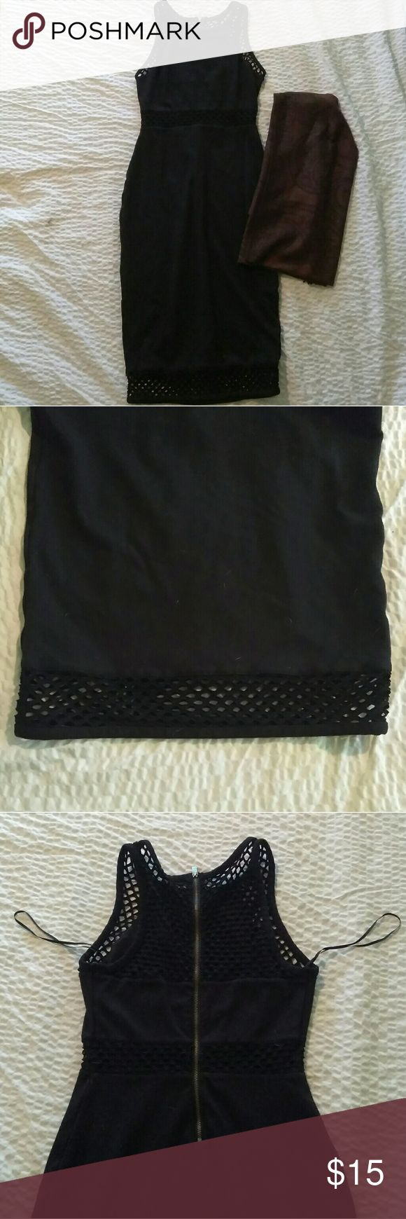 Size 0, stretchy Express midi dress and scarf! Black midi dress, size 0, but could fit a 2-4 comfortably. It's very soft, stretchy, and very flattering. Thick fishnet design at the top, bottom, and midsection. You can dress it up or down! Like new condition! Scarf is new with tags! Express Dresses Midi