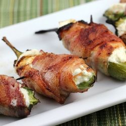 Bacon Wrapped Jalapenos: We bake them in the oven instead of grilling (which would be awesome too). I also use turkey bacon and low-fat cream cheese sometimes for a healthier option - THEY ARE SO GOOD THEY'RE ADDICTIVE