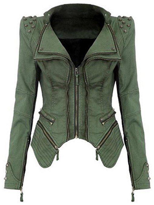 ZEARO Femmes Punk Motard Blazer Manteaux Vestes Denim Jean Coat Jacket Outwear Hauts