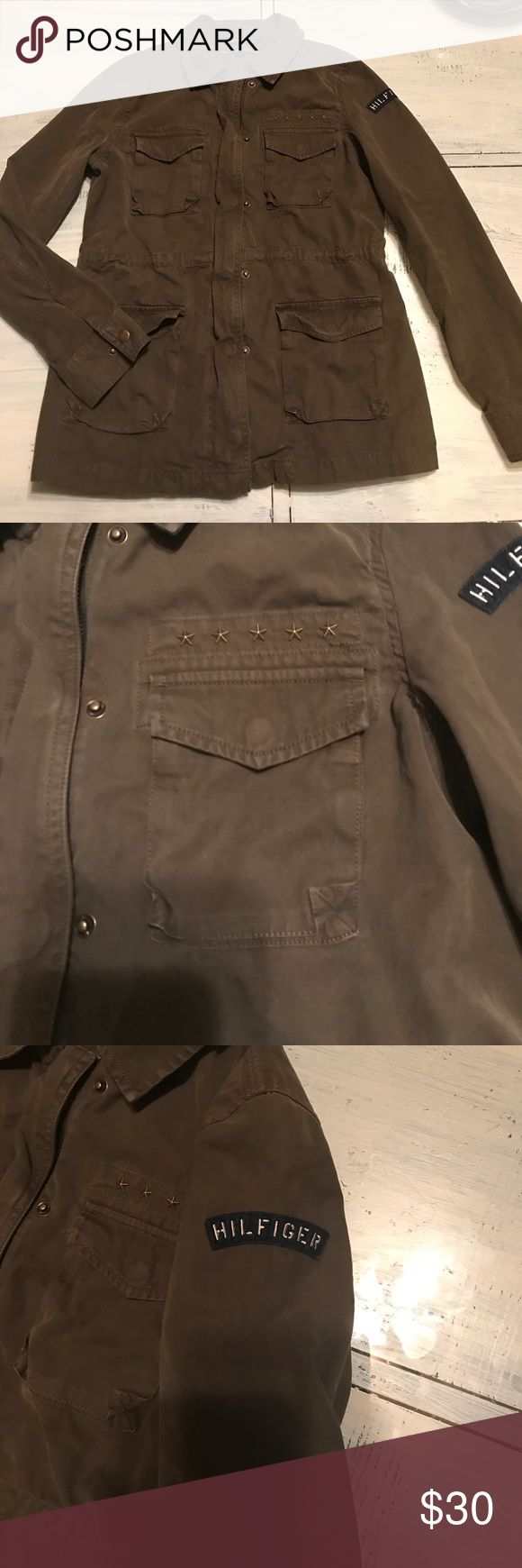 Tommy Hilfiger army jacket Tommy Hilfiger army jacket with bronze hardware and patches on the arm . Great jacket for fall ! In excellent condition Tommy Hilfiger Jackets & Coats