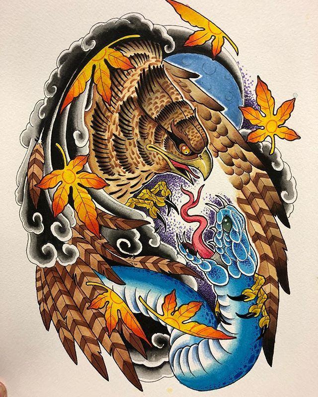 Color Scheme For The Half Sleeve I Started Japanese Japanesetattoo Neotraditionaltattoo Neojapanese H Old School Tattoo Designs Hawk Tattoo Weird Tattoos