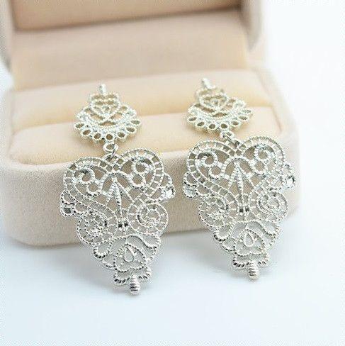 $8 Silver Bohemian Geometric Heart Earrings