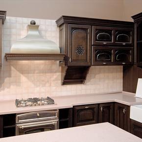 Custom Nickel Range Hood Surrounded By Dark Walnut Celtic Design Cabinets    Homeclick Community
