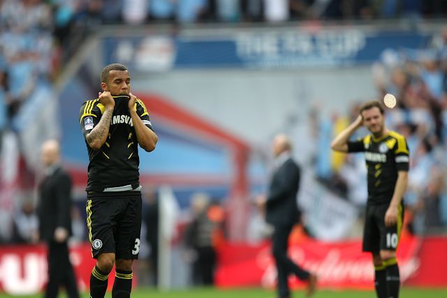 THE 2012/13 SEASON IN PICTURES: APRIL  Ryan Bertrand and Juan Mata look dejected as we are beaten 2-1 by Manchester City at Wembley in the FA Cup semi-final. Having trailed 2-0, Demba Ba pulled a goal back, and while we had chances and a very good shout for a penalty towards the end of the game, we were unable to find an equaliser.  Ryan Bertrand and Juan Mata at Wembley