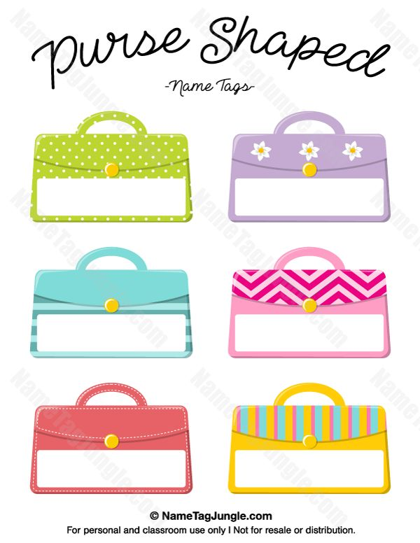 Free printable purse-shaped name tags. The template can also be used for creating items like labels and place cards. Download the PDF at http://nametagjungle.com/name-tag/purse-shaped/