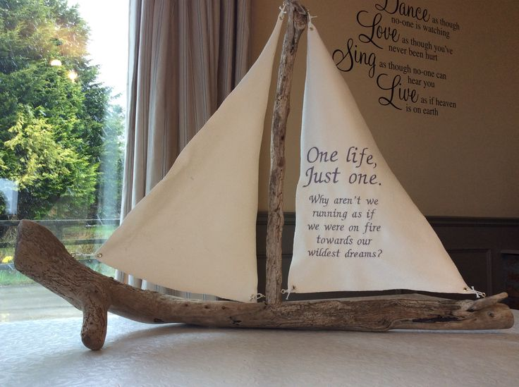 Irish Wild Atlantic driftwood sailboat embroidered with quote.