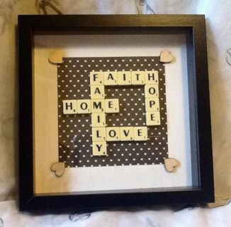 scrabble art. faith, love,hope.family.home. contact scrabblecreations@gmail.com