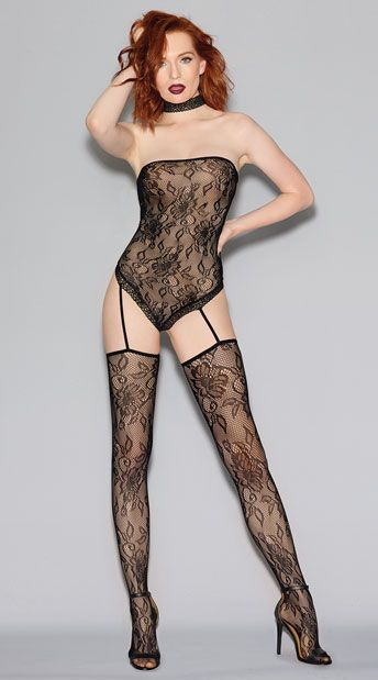 Surprise your sweetie in this sexy sheer bodystocking featuring allover  fishnet lace 8e0027a02